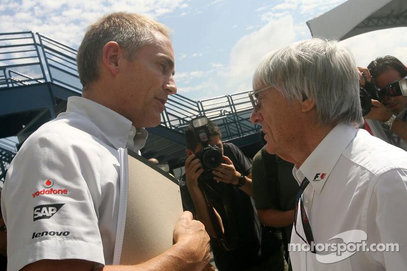 Martin Whitmarsh, McLaren, Chief Executive Officer and Bernie Ecclestone