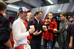Tom Kristensen, Audi Sport Team Abt Audi A4 DTM enjoying an after race beer
