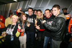 Hans-Jurgen Abt, Teamchef Abt-Audi with wife, daughter and son, and Ex-DTM driver Christian Abt with his wife, celebrating three DTM championships in a row