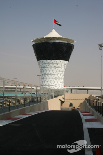 The pit lane exit of New Abu Dhabi Yas Marina Circuit