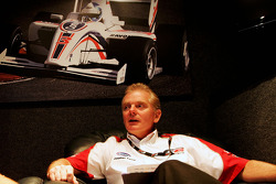 Jonathan Palmer Motorsport Vision Chief Executive in his office