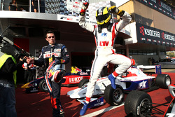 Race winner Andy Soucek and Mikhail Aleshin in parc ferme