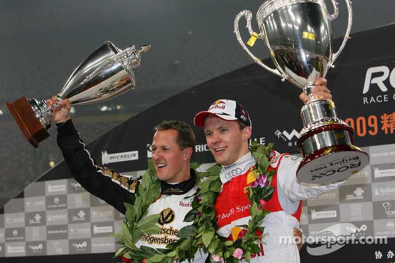 Podium: Race of Champions winner Mattias Ekström with second place Michael Schumacher