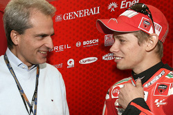 Valencia GP CEO Generali Group Balbinot and Casey Stoner, Ducati Marlboro Team