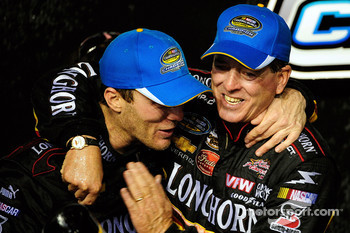 Championship victory lane: 2009 champion Ron Hornaday celebrates with team owner Kevin Harvick