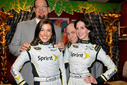 Actors Penn & Teller meet Miss Sprint Cups Monica Palumbo and Anne Marie Rhodes backstage in the green room of the Penn & Teller Theater inside the Rio Hotel & Casino