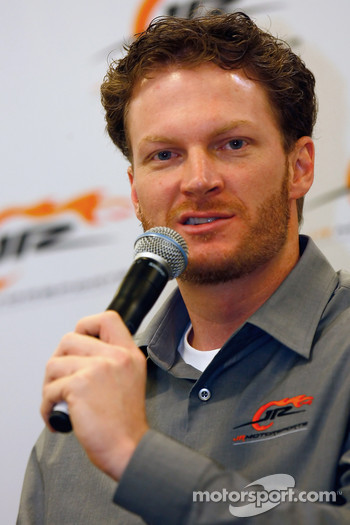 JR Motorsports co-owner Dale Earnhardt Jr. answers a question
