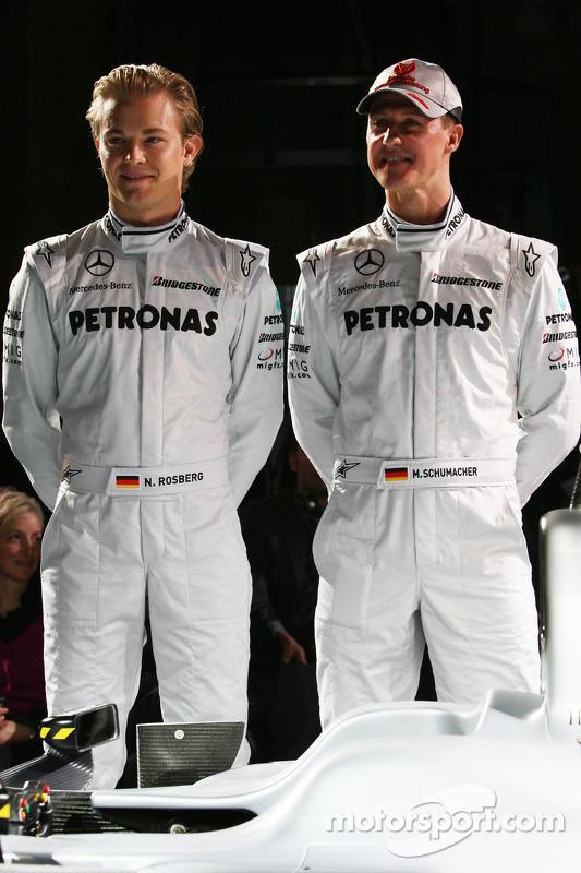 Nico Rosberg und Michael Schumacher