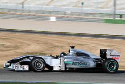 Michael Schumacher, Mercedes GP, W01, in a black helmet
