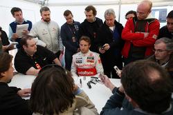 Jenson Button, McLaren Mercedes, talks to the media