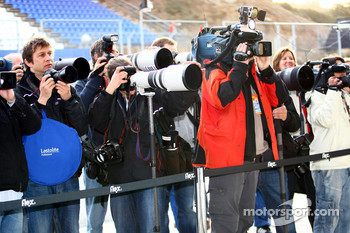 Photographers shooting Michael Schumacher, Mercedes GP