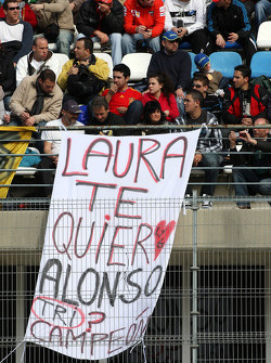 Fans with banners for Fernando Alonso, Scuderia Ferrari