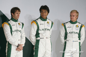 Jarno Trulli, Fairuz Fauzy and Heikki Kovalainen Malaysia Racing Team Principa- Lotus Cosworth Racing Launch