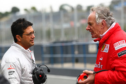 Indy Lall McLaren Test Team Manager with Mick Ainsley-Cowlishaw, Ferrari