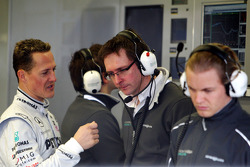 Michael Schumacher, Mercedes GP Petronas, Andrew Shovlin, Mercedes GP Petronas, Senior Race Engineer to Michael Schumacher, Nico Rosberg, Mercedes GP Petronas