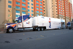 The FedEx hauler gets ready to enter the Las Vegas Motor Speedway