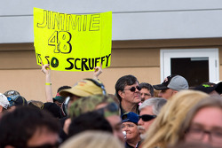 Fans celebrate the win of Jimmie Johnson, Hendrick Motorsports Chevrolet
