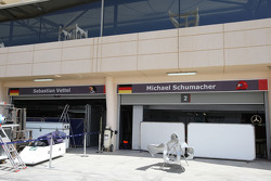 The garages of Sebastian Vettel, Red Bull Racing and Michael Schumacher, Mercedes GP Petronas