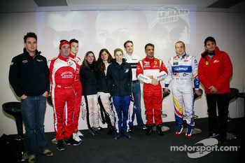 LMS press conference: Greg Mansell, Nigel Mansell, Natacha Gachnang, Rahel Frey, Dirk Werner, Cyndie Allemann, Olivier Panis, Leo Mansell, Giancarlo Fisichella and Jean Alesi