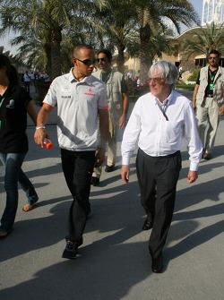 Lewis Hamilton, McLaren Mercedes with Bernie Ecclestone