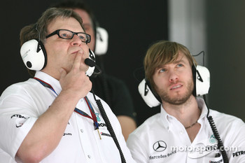 Norbert Haug, Mercedes, Motorsport chief and Nick Heudfeld, Test Driver, Mercedes GP