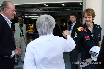 Juan Carlos I, King of Spain, Bernie Ecclestone, Sebastian Vettel, Red Bull Racing