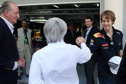 Juan Carlos I, King of Spain, Bernie Ecclestone, Sebastian Vettel, Red Bull Racing
