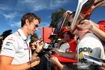 Jenson Button, McLaren Mercedes signs autographs