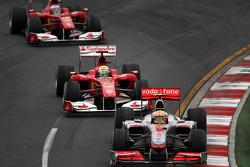 Lewis Hamilton, McLaren Mercedes leads Felipe Massa, Scuderia Ferrari leads Fernando Alonso, Scuderia Ferrari