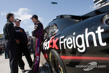 Denny Hamlin, Joe Gibbs Racing Toyota with crew chief Mike Ford and team owner J.D. Gibbs