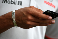 The bracelet of Lewis Hamilton, McLaren Mercedes, for the 46664 charity