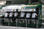 Lotus team on the pit lane gantry
