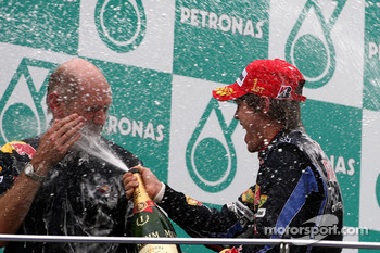 Podium: race winner Sebastian Vettel, Red Bull Racing, Adrian Newey, Red Bull Racing, Technical Operations Director