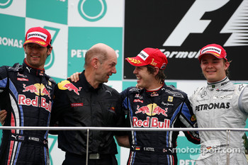 Podium: race winner Sebastian Vettel, Red Bull Racing, second place Mark Webber, Red Bull Racing, third place Nico Rosberg, Mercedes GP, Adrian Newey, Red Bull Racing, Technical Operations Director