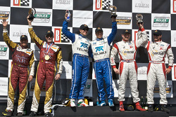 DP podium: class and overall winners Memo Rojas and Scott Pruett, second place Oswaldo Negri and John Pew, third place Ryan Dalziel and Mike Forest