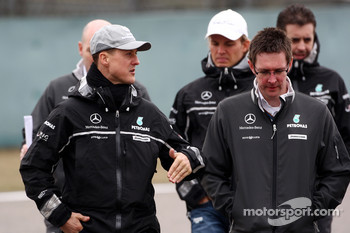 Michael Schumacher, Mercedes GP walk the circuit with Andrew Shovlin, Mercedes GP, Senior Race Engineer to Michael Schumacher