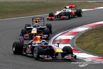 Sebastian Vettel, Red Bull Racing leads Mark Webber, Red Bull Racing