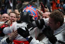 Race winner Jenson Button, McLaren Mercedes, celebrates