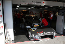The garage and car of Timo Scheider, Audi Sport Team Abt Audi A4 DTM