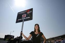 Grid girl of Adrian Quaife-Hobbs, Motopark Academy, Dallara F308 Volkswagen