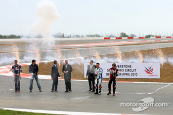 Fireworks and champagne christened the opening of the new Silverstone circuit: David Coulthard, Mark Webber, Red Bull Racing, Damon Hill, BRDC President, HRH Prince Andrew, The Duke of York, Richard Phillips Managing Director Silverstone Circuits, Leon Ha