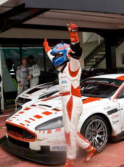 Provisional race winner Tomas Enge celebrates