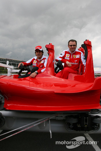 Fernando Alonso, Scuderia Ferrari with Stefano Domenicali Ferrari General Director and new Ferrai Roller Coaster to be the faster roller coaster in the world of speeds up to 240 kph to be used in Abu Dhabi