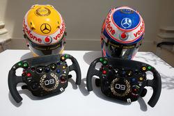 Lewis Hamilton, McLaren Mercedes, Jenson Button, McLaren Mercedes, Monaco editiion helmets and steering wheels with Steinmetz Diamonds