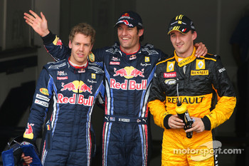 Pole position for Mark Webber, Red Bull Racing, second Robert Kubica, Renault F1 Team, third Sebastian Vettel, Red Bull Racing
