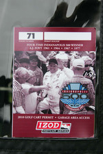 Pit cart sicker honoring A.J. Foyt Jr.'s four Indianapolis 500 Victories