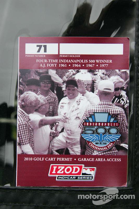 Pit cart sicker honoring A.J. Foyt Jr.'s four Indianapolis 500 Victories