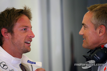 Jenson Button, McLaren Mercedes and Martin Whitmarsh, McLaren, Chief Executive Officer