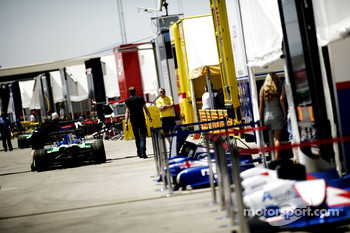Teams set up in the paddock