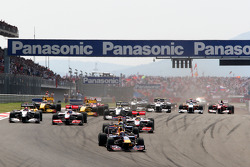Race start, Mark Webber, Red Bull Racing leads Sebastian Vettel, Red Bull Racing